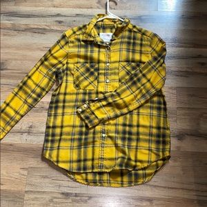 Yellow and navy blue/black flannel
